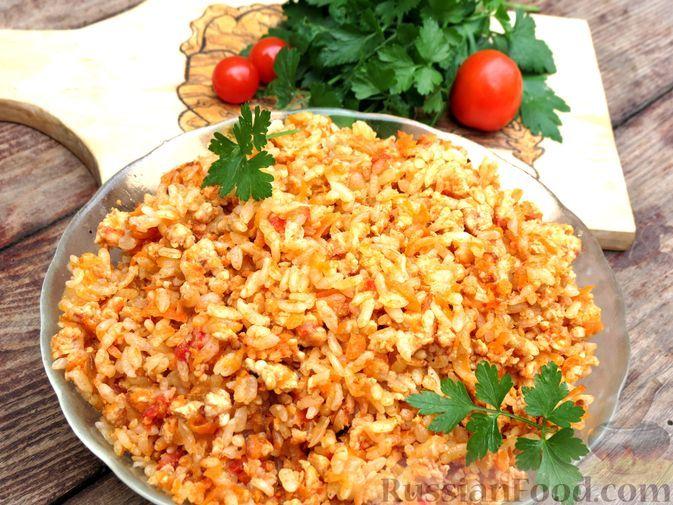 Фото к рецепту: Рис с мясным фаршем и овощами