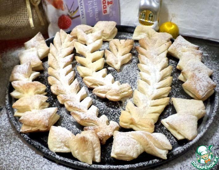 Рецепт: Слоеное печенье Морозные узоры