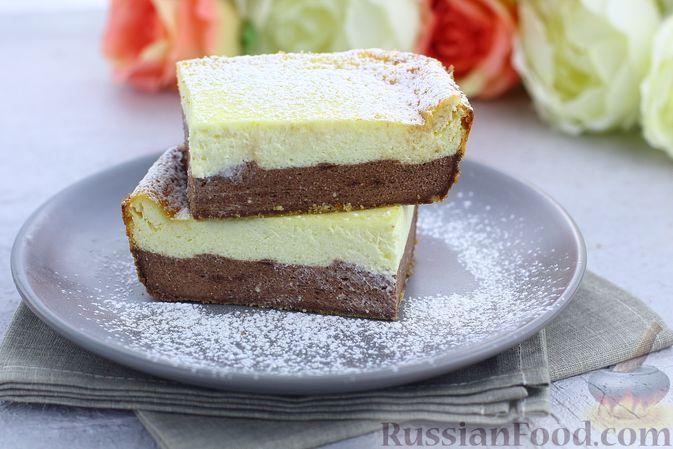Фото к рецепту: Творожная шоколадно-ванильная запеканка