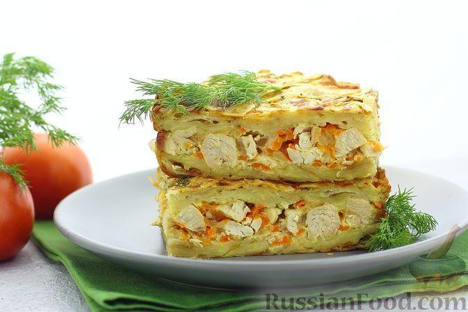 Фото к рецепту: Пирог из лаваша с куриным фаршем и сыром