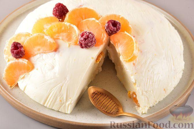 Фото к рецепту: Творожное желе со сгущённым молоком и мандаринами