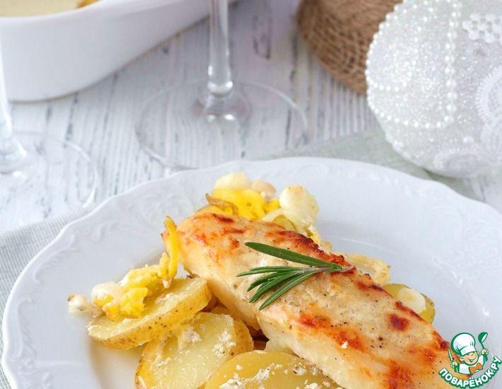 Рецепт: Палтус, запеченный с картофелем в духовке