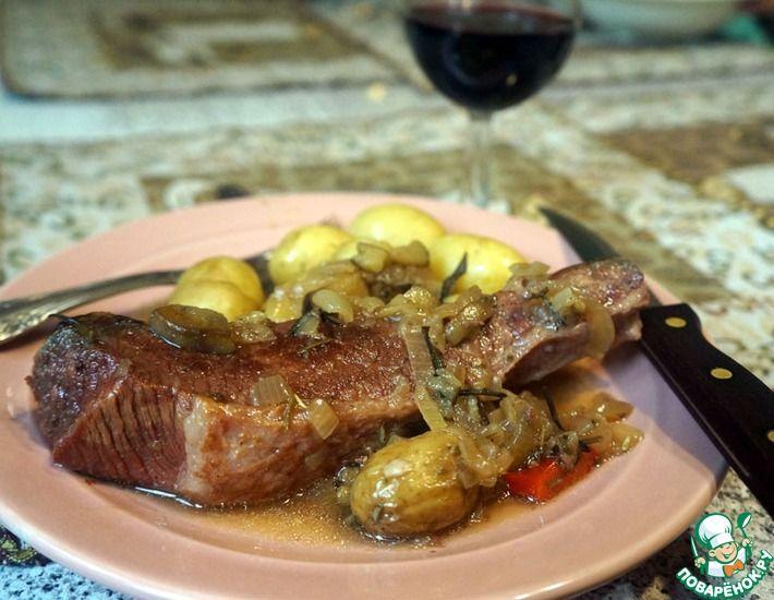 Рецепт: Тушеная говядина с баклажанами