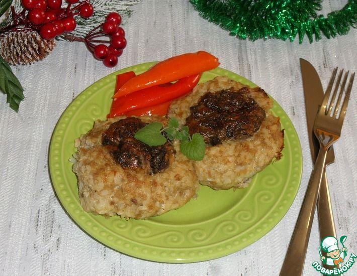 Рецепт: Курино-рисовые гнезда с грибами