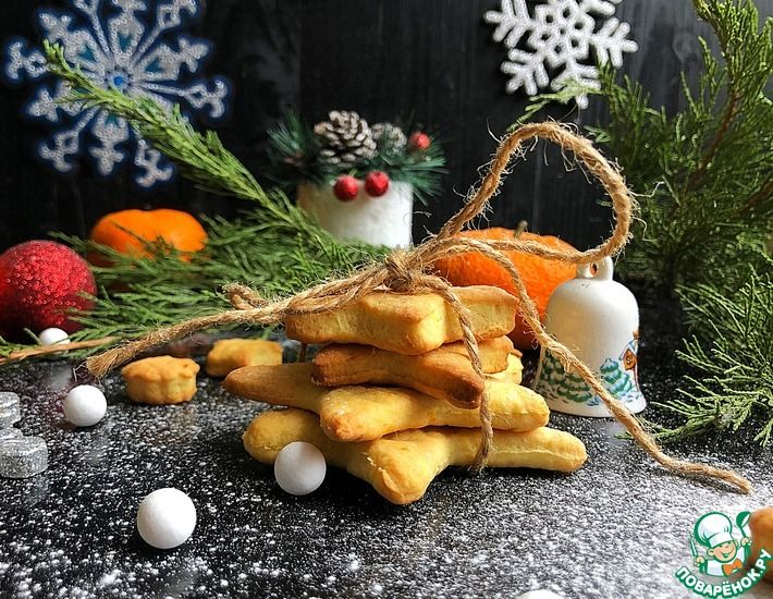 Рецепт: Новогоднее мандариновое печенье