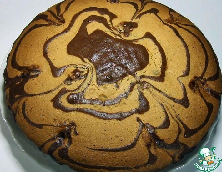 Рецепт: Пирог зебра с бананом и шоколадом