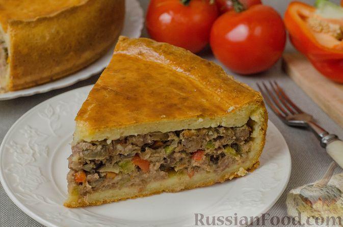 Фото к рецепту: Закрытый пирог из творожного теста с мясным фаршем, грибами и овощами