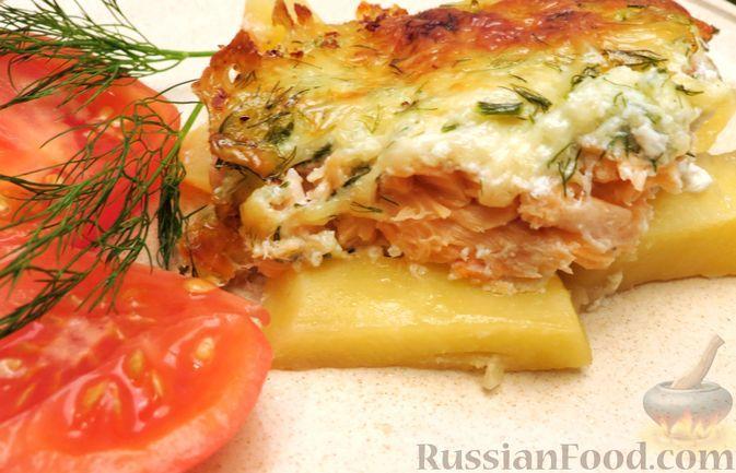 Фото к рецепту: Картофельная запеканка с сёмгой и сырно-сливочным соусом