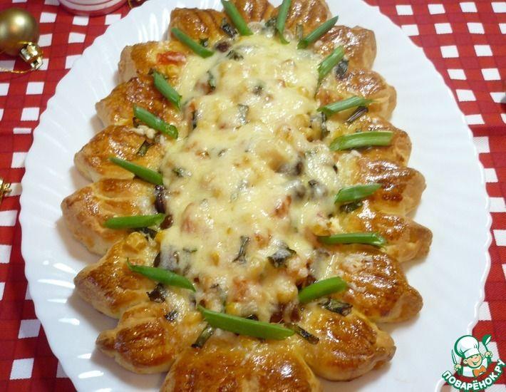 Рецепт: Открытый пирог-домашняя пицца