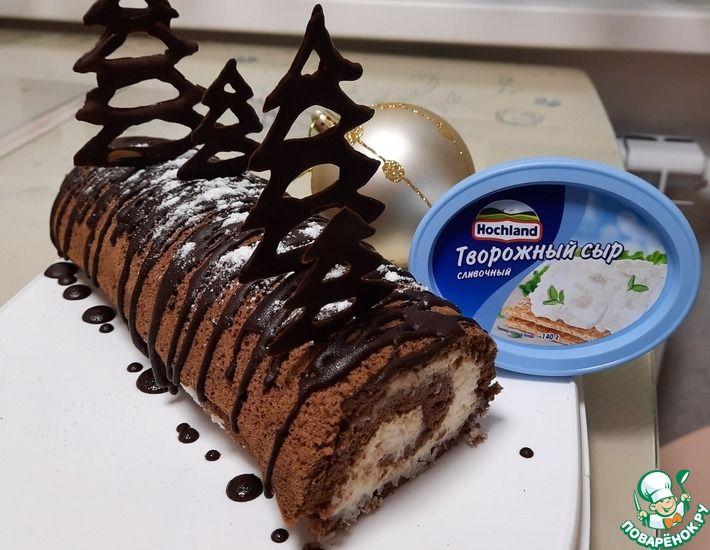 Рецепт: Шоколадный рулет с кокосовым кремом