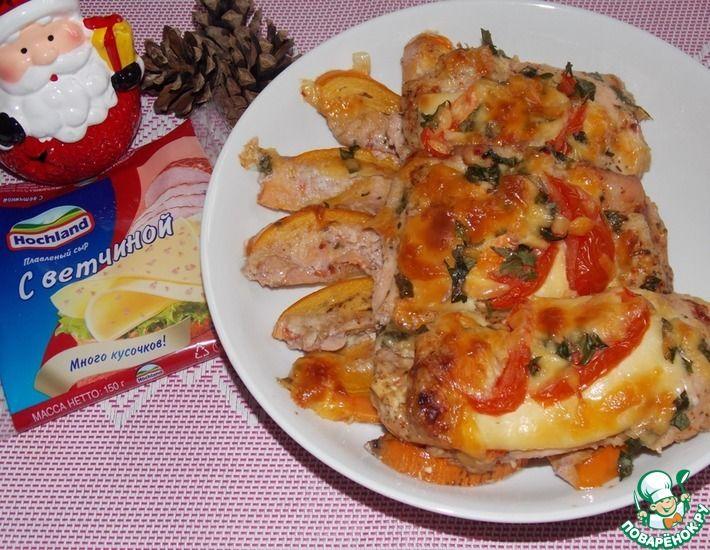 Рецепт: Куриные бедра с хурмой и сыром в духовке