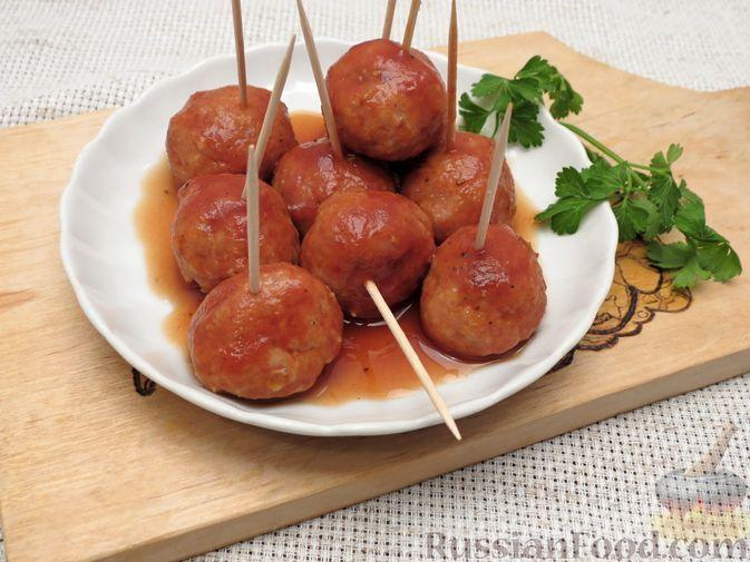 Фото к рецепту: Мясные фрикадельки в медово-апельсиновом соусе (в духовке)