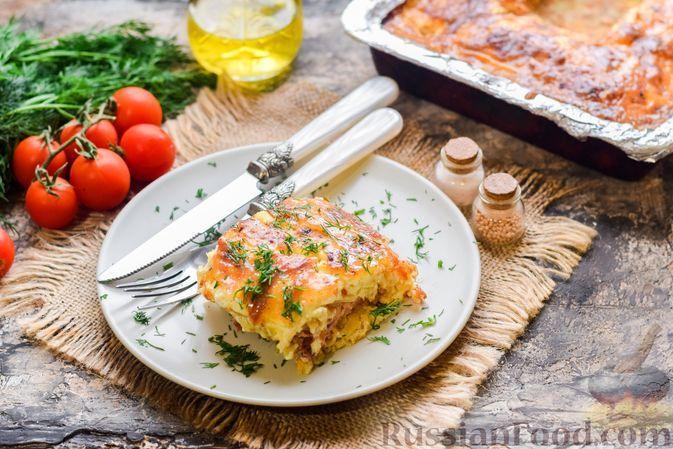 Фото к рецепту: Запеканка из картофеля, куриного фарша и сыра