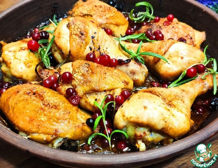 Рецепт: Курица с клюквой и розмарином