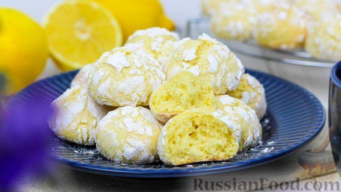 Фото к рецепту: Мраморное лимонное печенье с трещинками