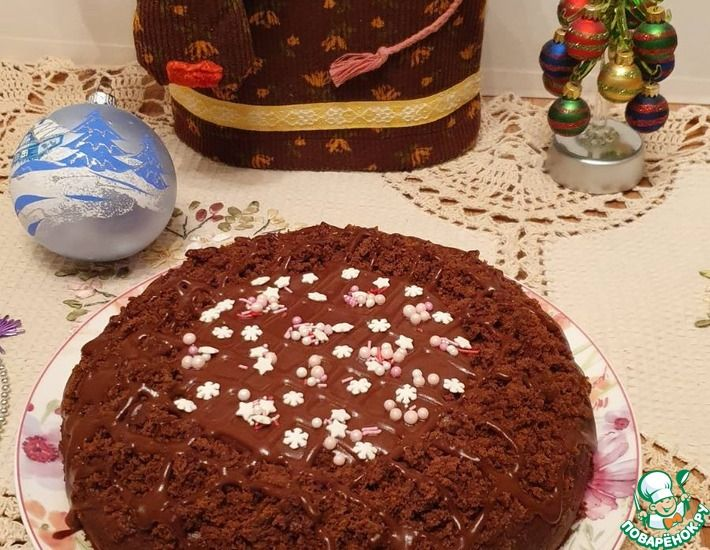 Рецепт: Торт Прага с апельсиновым кремом постный