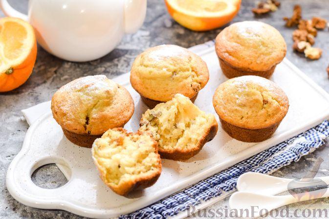 Фото к рецепту: Маффины на йогурте, с орехами, изюмом, цедрой и розмарином