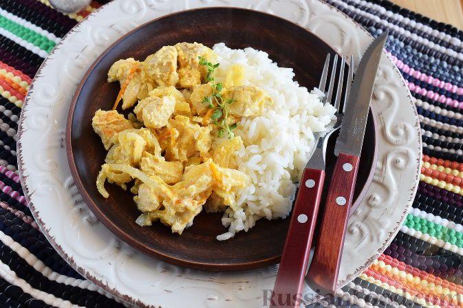 Фото к рецепту: Куриное филе в апельсиновом соусе