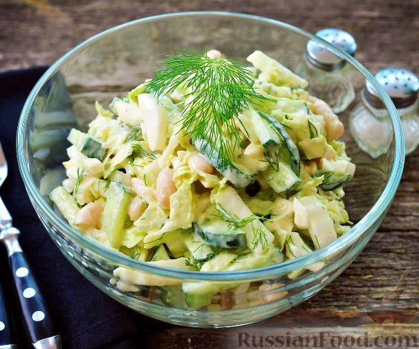 Фото к рецепту: Салат c фасолью и пекинской капустой