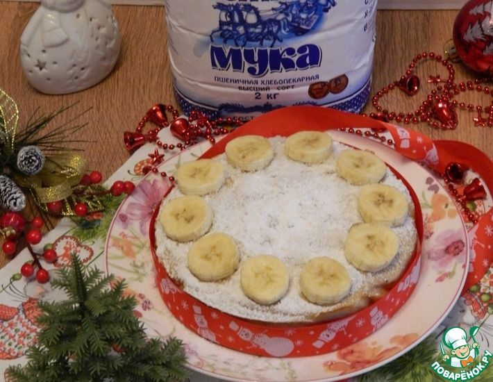 Рецепт: Запеканка бананово-творожная с ягодами