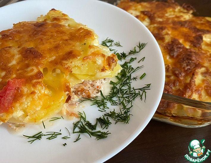 Рецепт: Нежное куриное филе с картофелем и помидорами