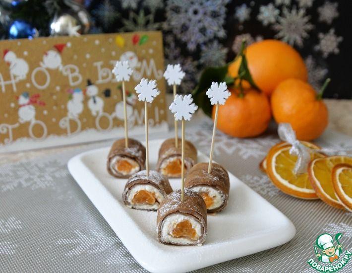 Рецепт: Шоколадные блинные роллы с мандаринами