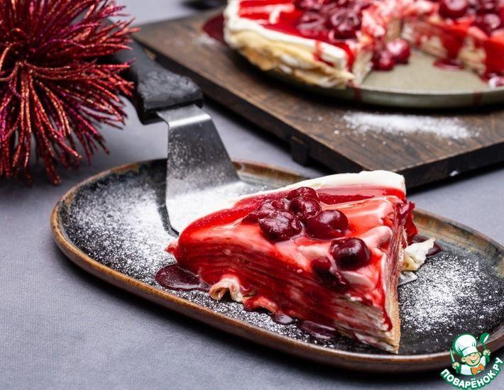 Рецепт: Блинный торт с кремом и глазурью