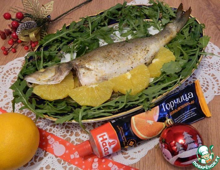 Рецепт: Сибас в духовке фаршированный апельсинами