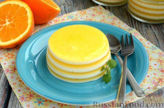 Фото к рецепту: Молочно-апельсиновое желе
