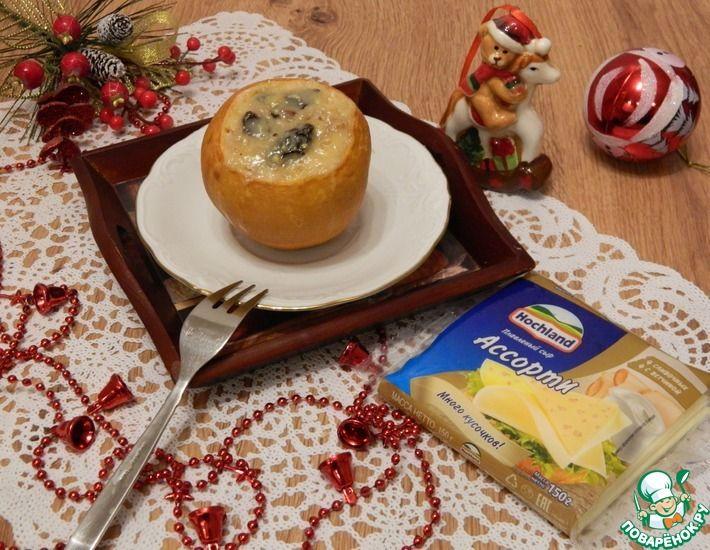 Рецепт: Айва, запеченая с сыром, изюмом, орехами
