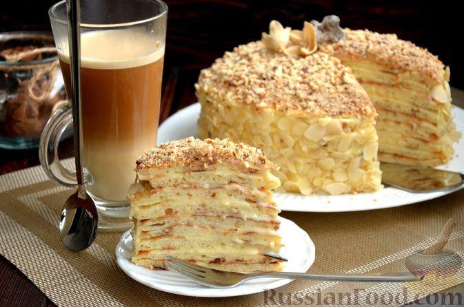 Фото к рецепту: Творожный торт с заварным кремом (на сковороде)