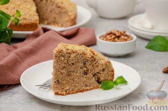 Фото к рецепту: Орехово-кофейный пирог со штрейзелем