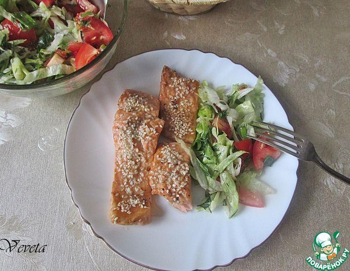 Рецепт: Запеченный лосось в соусе унаги