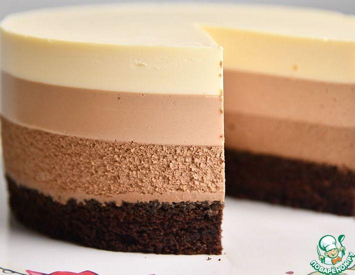 Рецепт: Муссовый торт Три шоколада на сметане