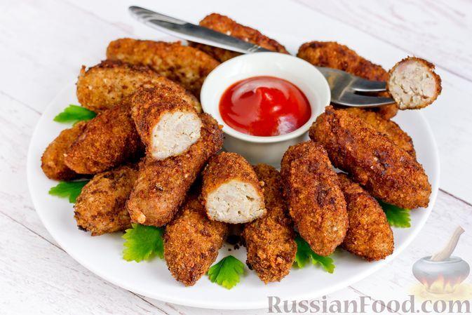 """Фото к рецепту: Котлеты """"Пальчики"""" с сыром и грецкими орехами"""