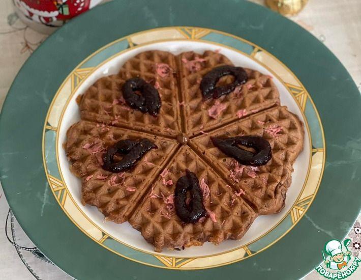 Рецепт: Твороженные вафли Шоколадка c орехами