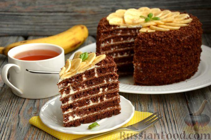 Фото к рецепту: Шоколадный торт со сметанным кремом (на сковороде)