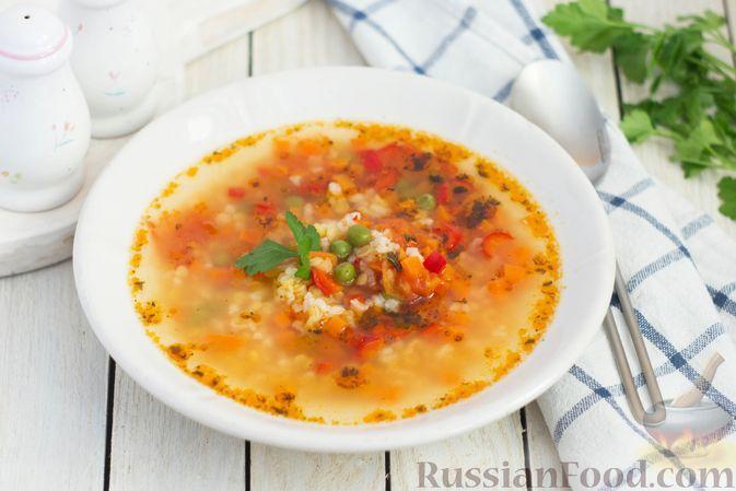 Фото к рецепту: Овощной суп с чечевицей и рисом