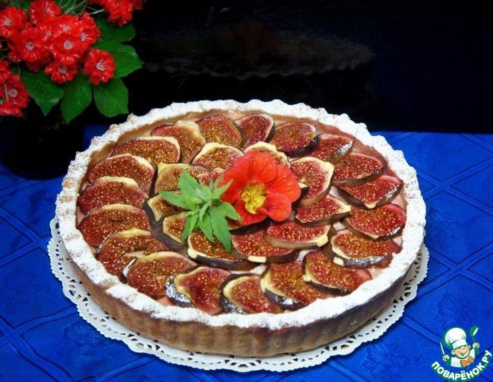 Рецепт: Песочно-творожный пирог с инжиром