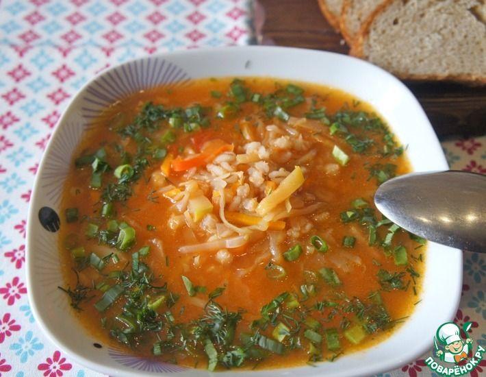 Рецепт: Постный томатный суп с перловкой