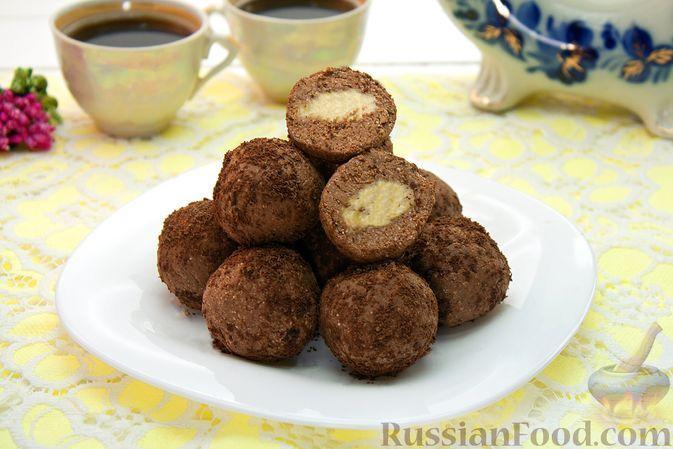 Фото к рецепту: Шоколадные конфеты с бананом и овсяными хлопьями