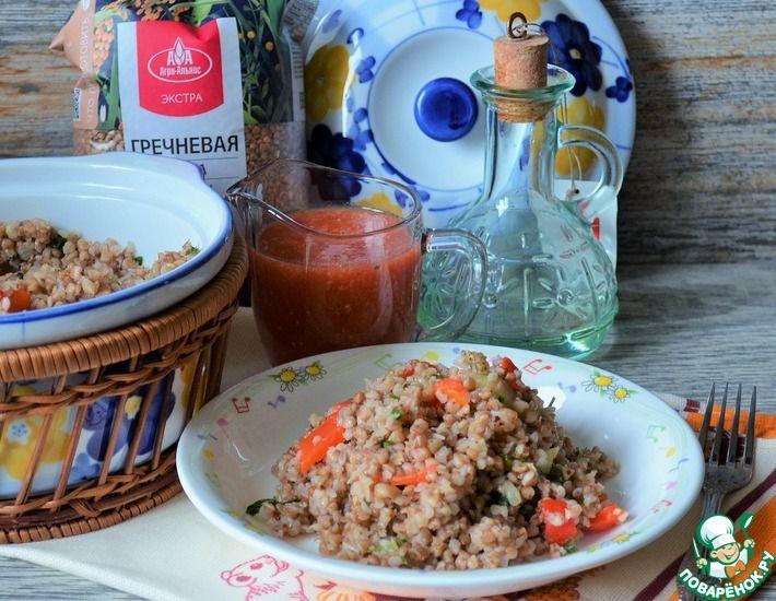 Рецепт: Гречка с печёными овощами