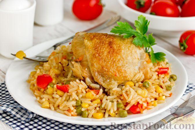 Фото к рецепту: Курица с рисом и овощами, на сковороде