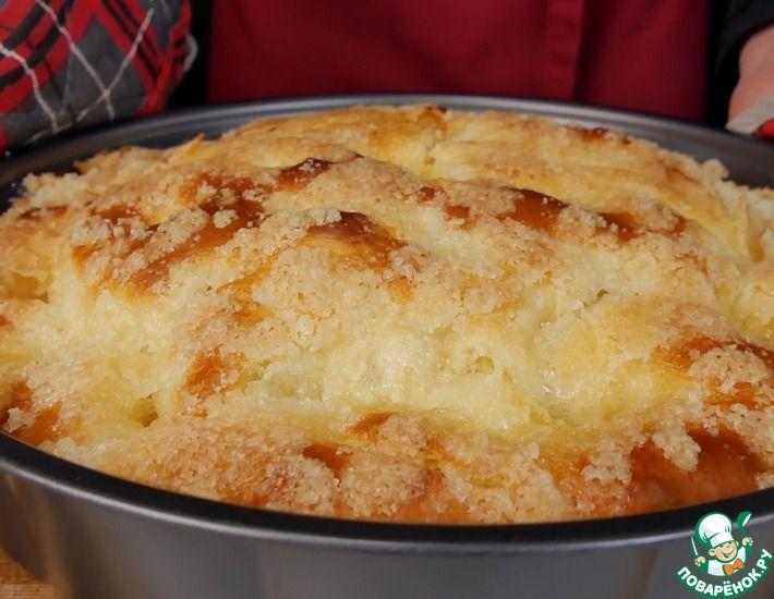 Рецепт: Сахарный пирог со сливочной заливкой