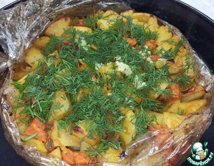 Рецепт: Картофель запеченный в рукаве. Постное блюдо