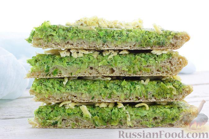 """Фото к рецепту: Открытый дрожжевой пирог с капустным """"суфле"""""""