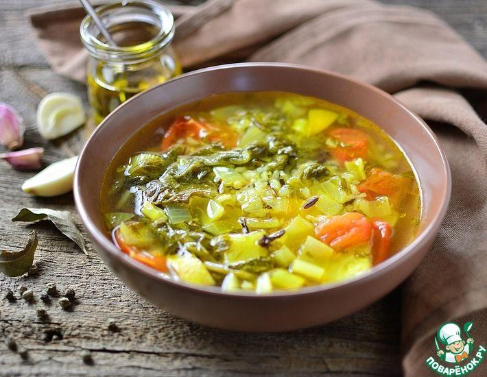 Рецепт: Щавелевый суп с рисом и овощами