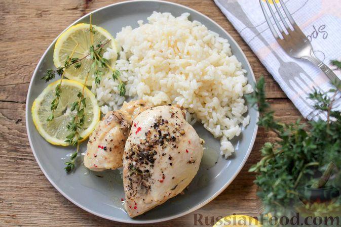 Фото к рецепту: Куриные грудки, запечённые в лимонном маринаде