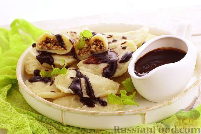 Фото к рецепту: Вареники с творогом и шоколадом