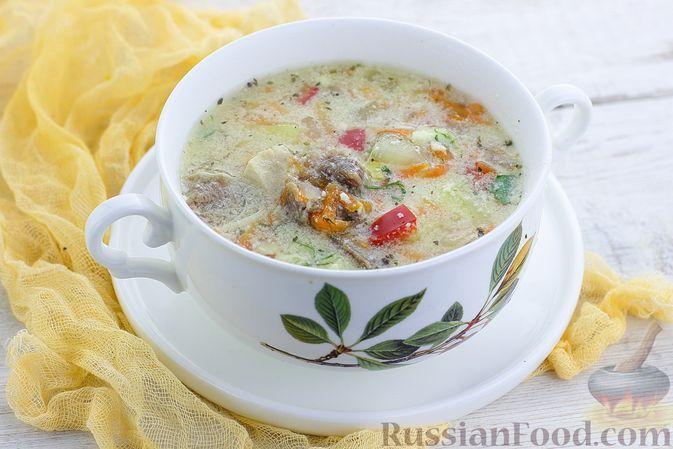 Фото к рецепту: Суп с телятиной, курицей и сметанной заправкой